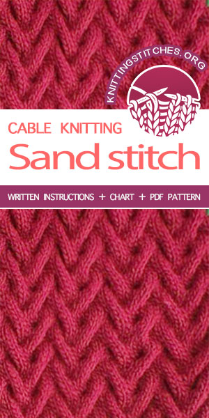Knitting Stitches -- Knitting instructions for Sand  cable stitch pattern. The Sand stitch would be a great stitch pattern choice for projects like wraps, scarves, and hats!