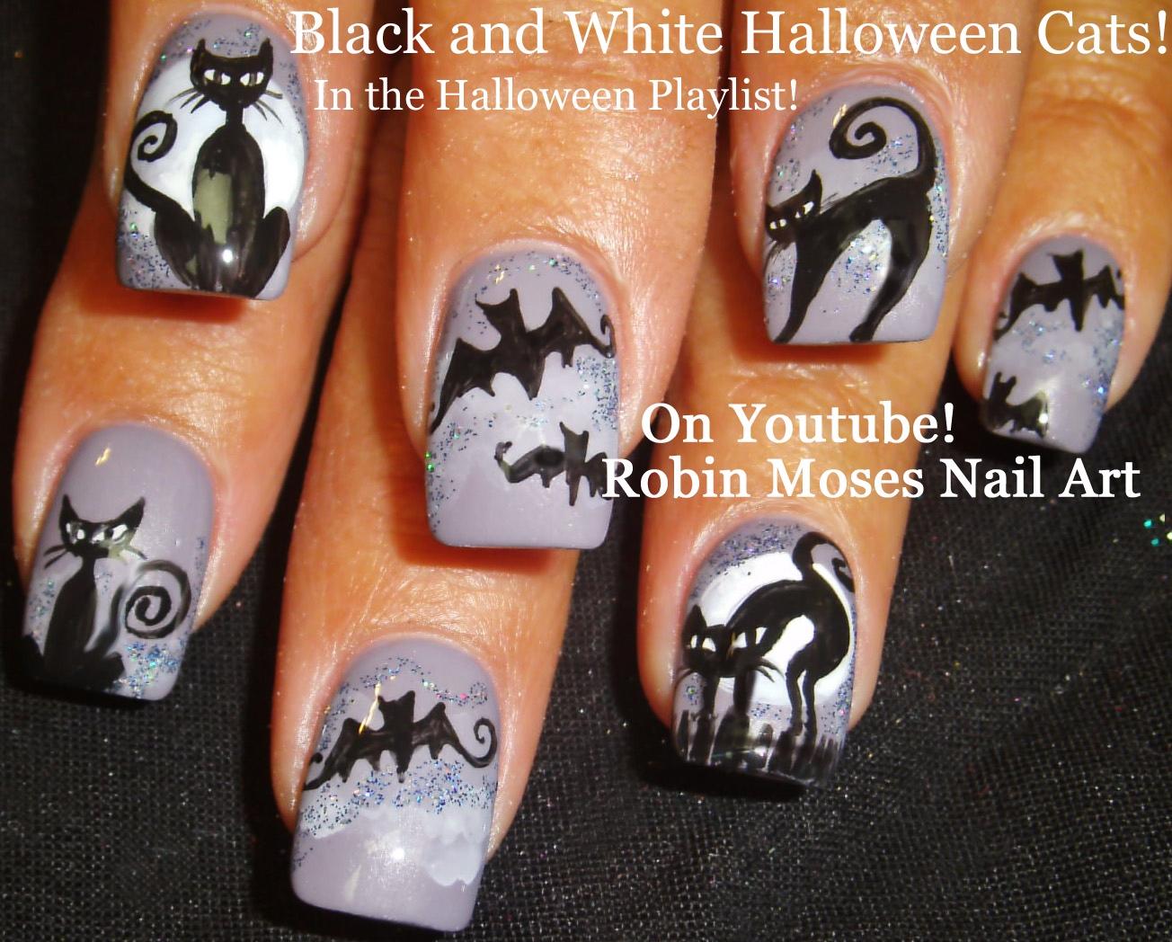 Nail Art by Robin Moses: Glowing Black Cats! Easy Halloween DIY Nail ...