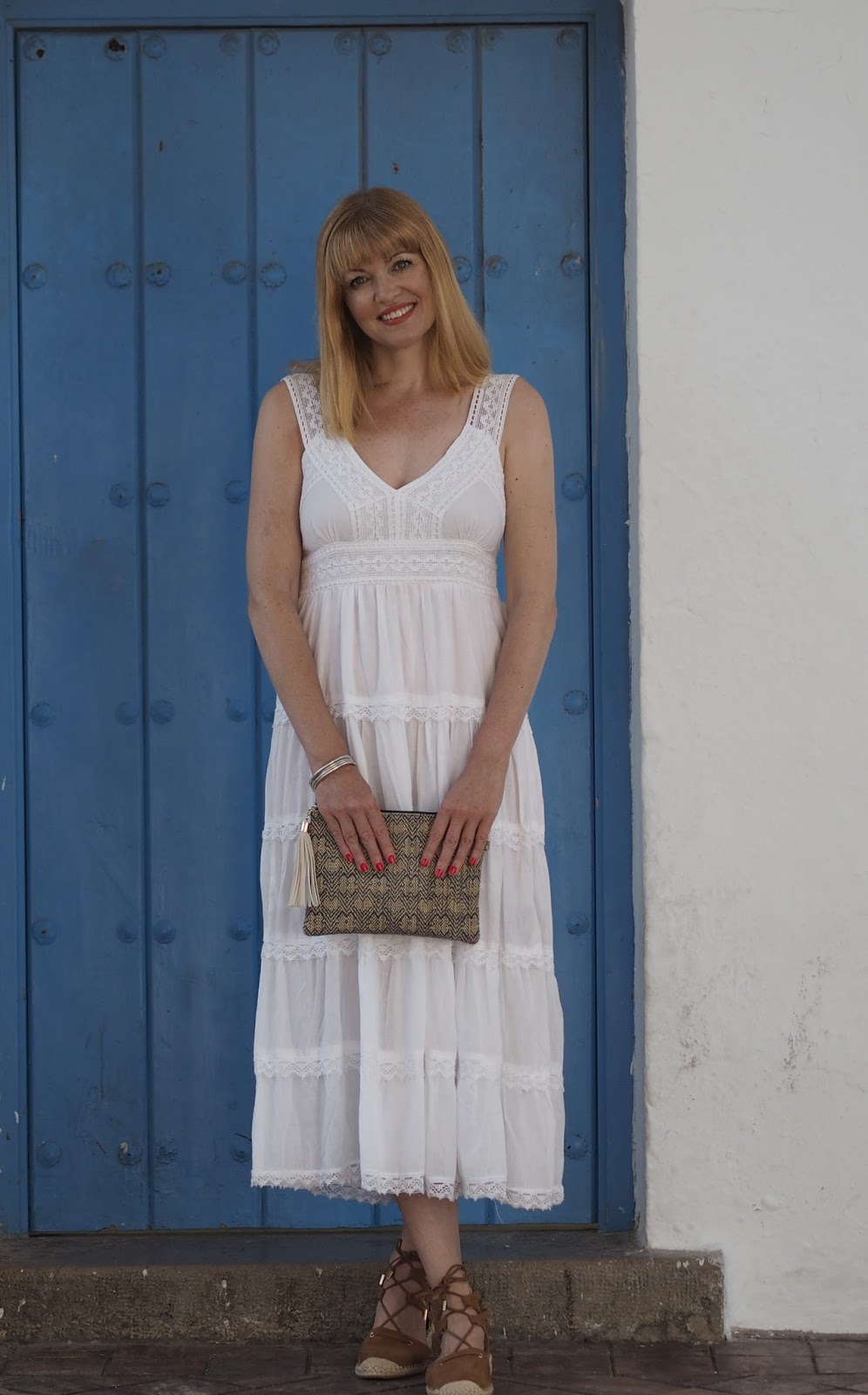 White midi dress and espadrilles