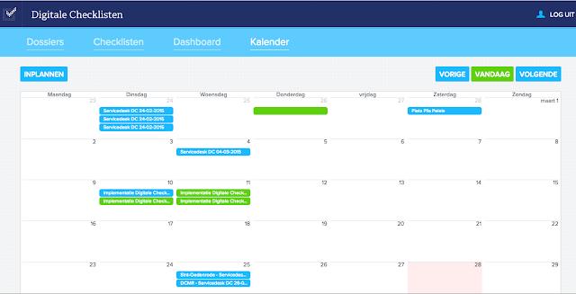 Voorbeeld van de kalender in Digitale Checklisten