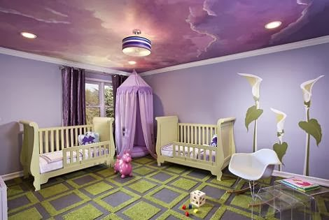Dormitorio para bebé color lila