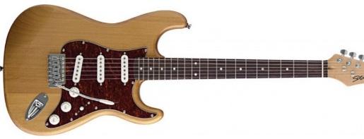 gitar warna coklat kayu alami