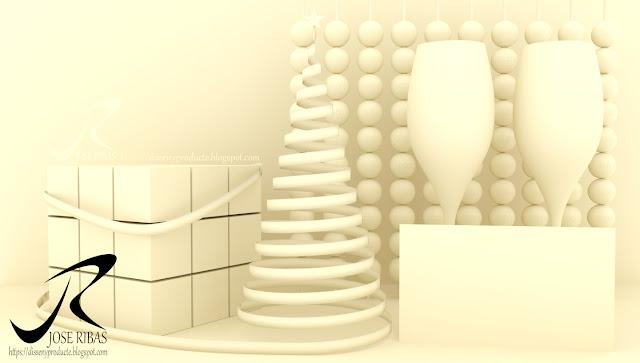 Renderización : Imagen Publicitaria Navidad Solidos 3D