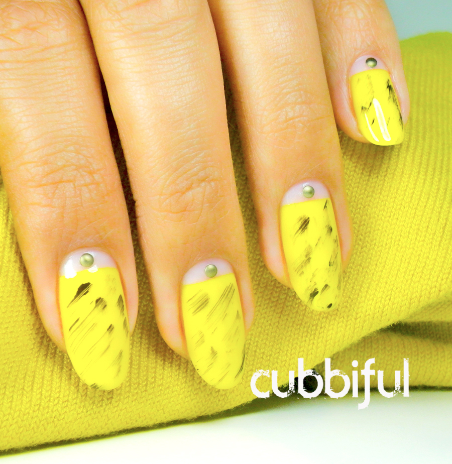 31DC2014 studs and yellow nails