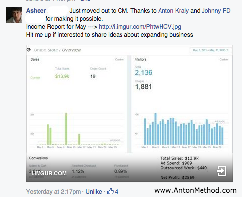 Asheer made $2,559 in profit this month.