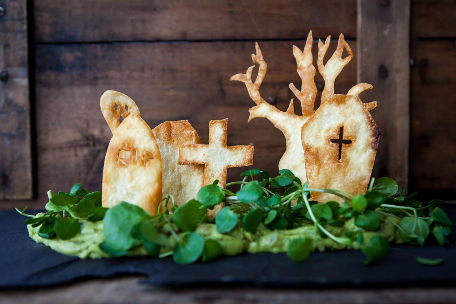Spooky Tortilla Graveyard With Guacamole Dip