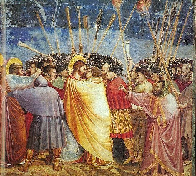 O Beijo de Judas - Giotto di Bondone e suas pinturas ~ Primeiro a introduzi a perspectiva na pintura