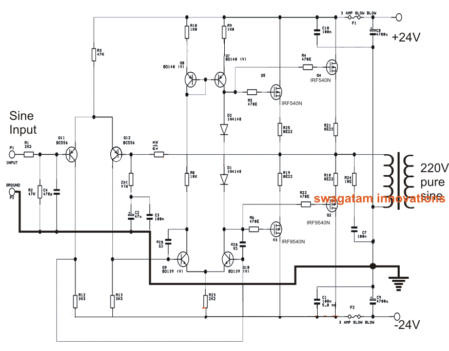 Pure Sine Wave Inverter Circuit 500 Watt Pure Sine Circuit Diagram