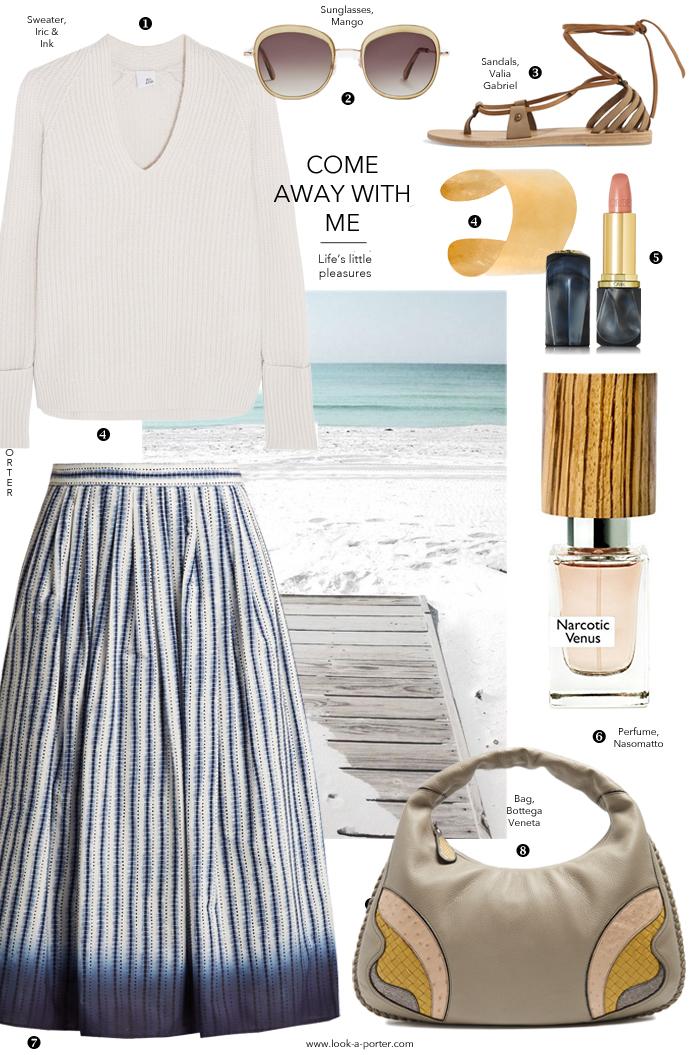 Styling a midi skirt for a casual and elegant outfit for spring and summer / www.look-a-porter.com style & fashion blog / Max Mara, Iris & Ink, Bottega Veneta, Nasomatto, Valia Gabriel