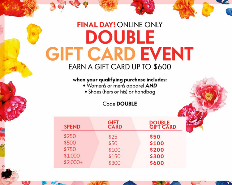Neiman Marcus Double Gift Card Event - Fast Food & Fast Fashion ...