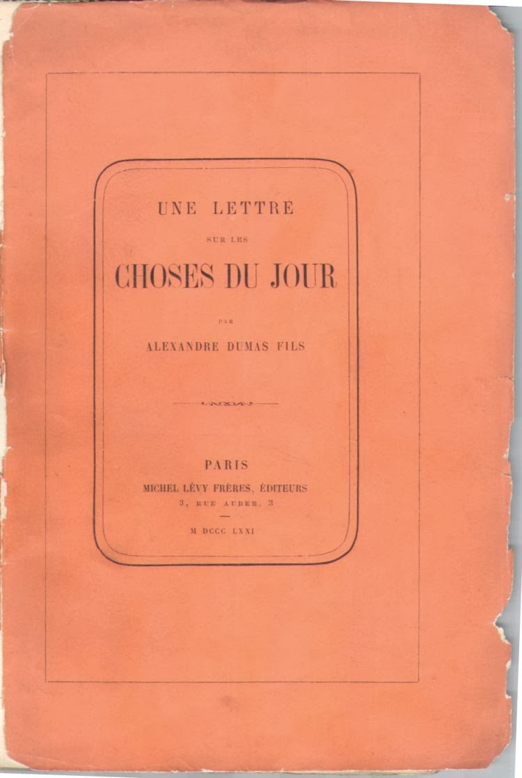 法國文學巨擘 小仲馬 1871年《一封關於時事的信》初版簽贈本