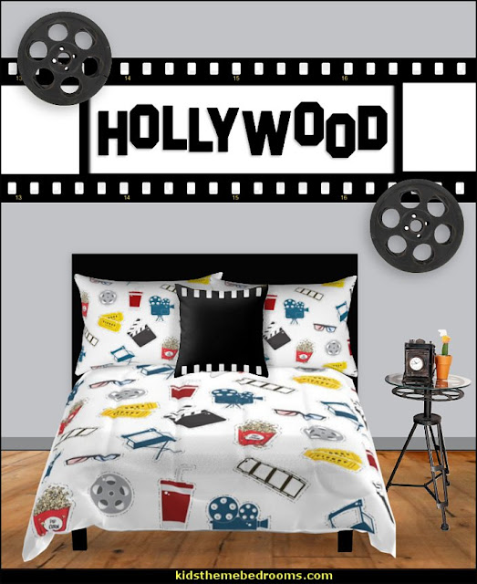 hollywood bedding movie bedding cinema bedrooms  Movie themed bedrooms - home theater design ideas - Hollywood style decor - movie decor -  Film decor - home cinema decor - movie theater decor - Home Theater Curtains - cinema themed bedroom movie theater - movie themed decorating ideas - movie props - designing a home theater room -  decorating home theater ideas - media room decorating ideas - film buff bedroom ideas