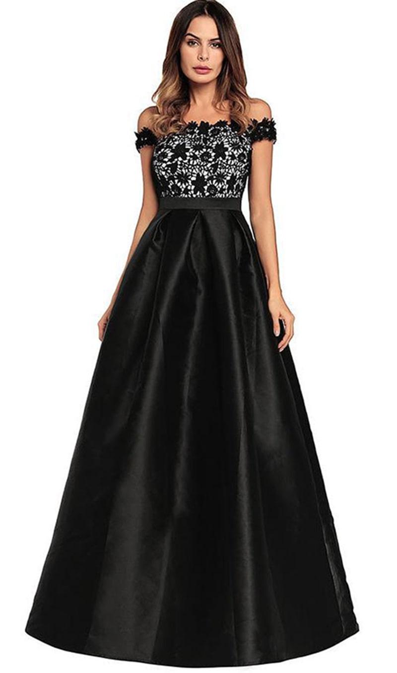Patchwork Short Sleeves Off Shoulder Long Dress