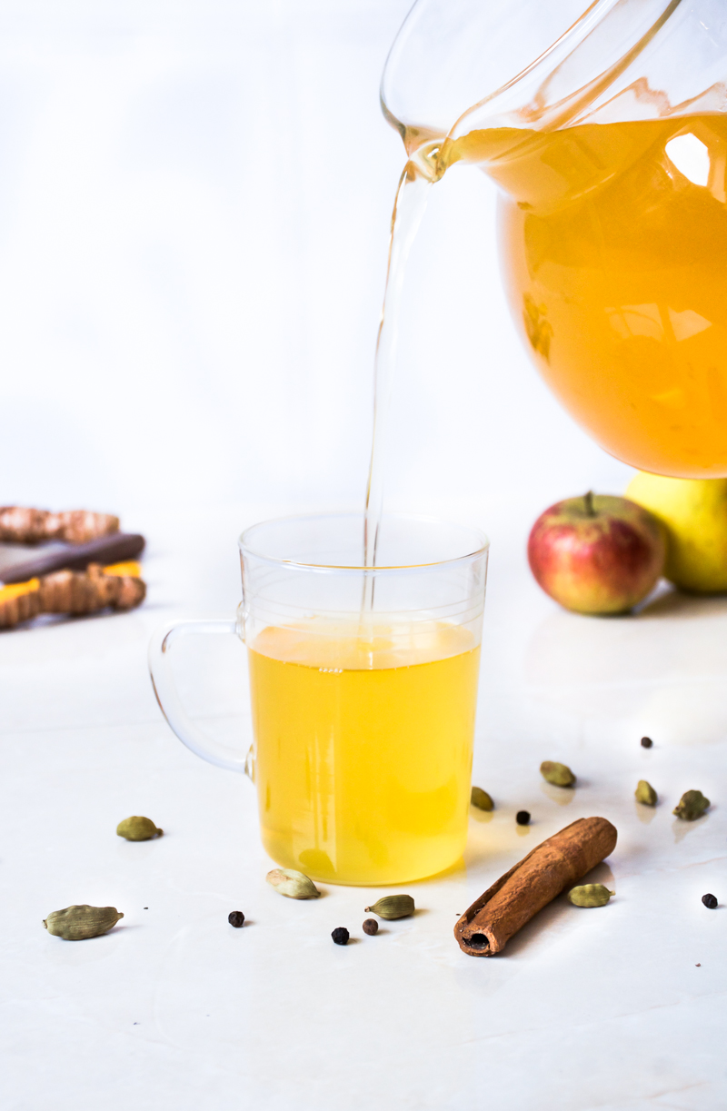 This spicy yoga tea is one I started making after doing my yoga teacher training a few years ago. It's delicious and ultra healthy, packed with good stuff like ginger, turmeric, and cardamom. The tea can help to reduce bloating and inflammation and tastes great, too.