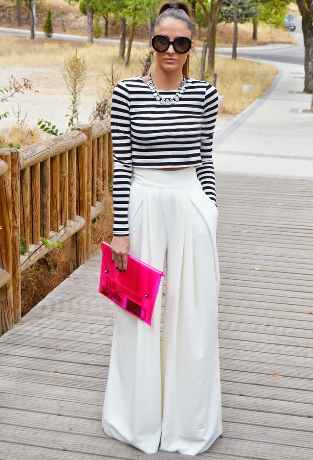 Wearing a White Palazzo Pants with Black-White Striped Crop Top, Stylish