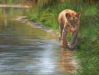 animales-en-agua-pintura-realista