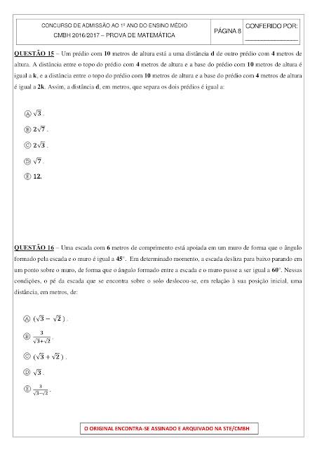 prova de matematica 1 ano ensino medio com gabarito