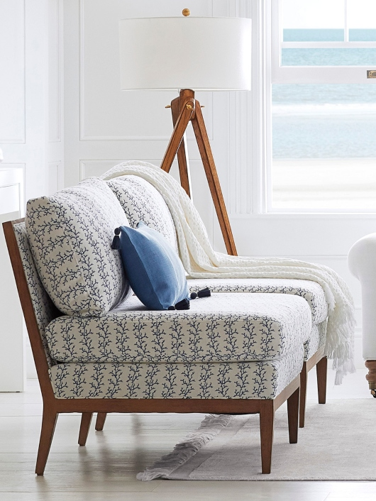 Solid Wood Armless Slipper Chair Coastal Coral Design Blue White