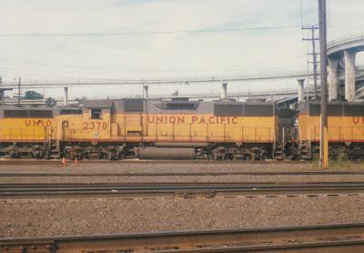 Union Pacific GP39-2 #2378 at Albina Yard in Portland, Oregon, on July 13, 1997