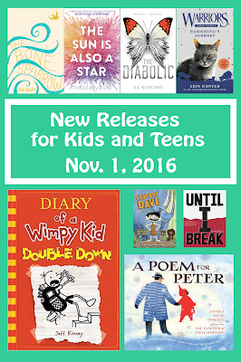 37 newly-released titles for the week of November 1, 2016. This includes YA, middle grade, early chapters, and picture books. Italso includes a downloadable PowerPoint of many of the titles, which is a great way to advertise the newest books in the library. Excellent for library collection development!