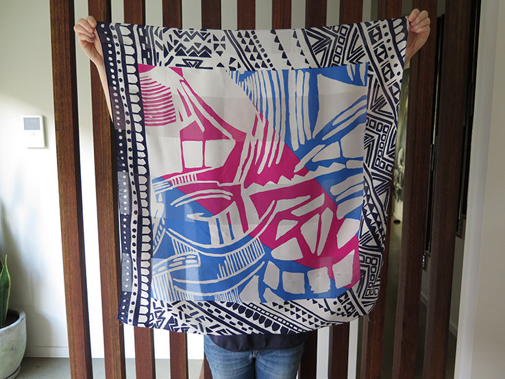 Upcycle an old scarf into artwork