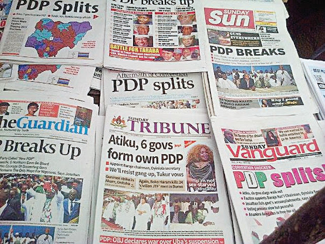 Nigerian Newspapers: Top 10 Headlines Today Tuesday, 12th March, 2019