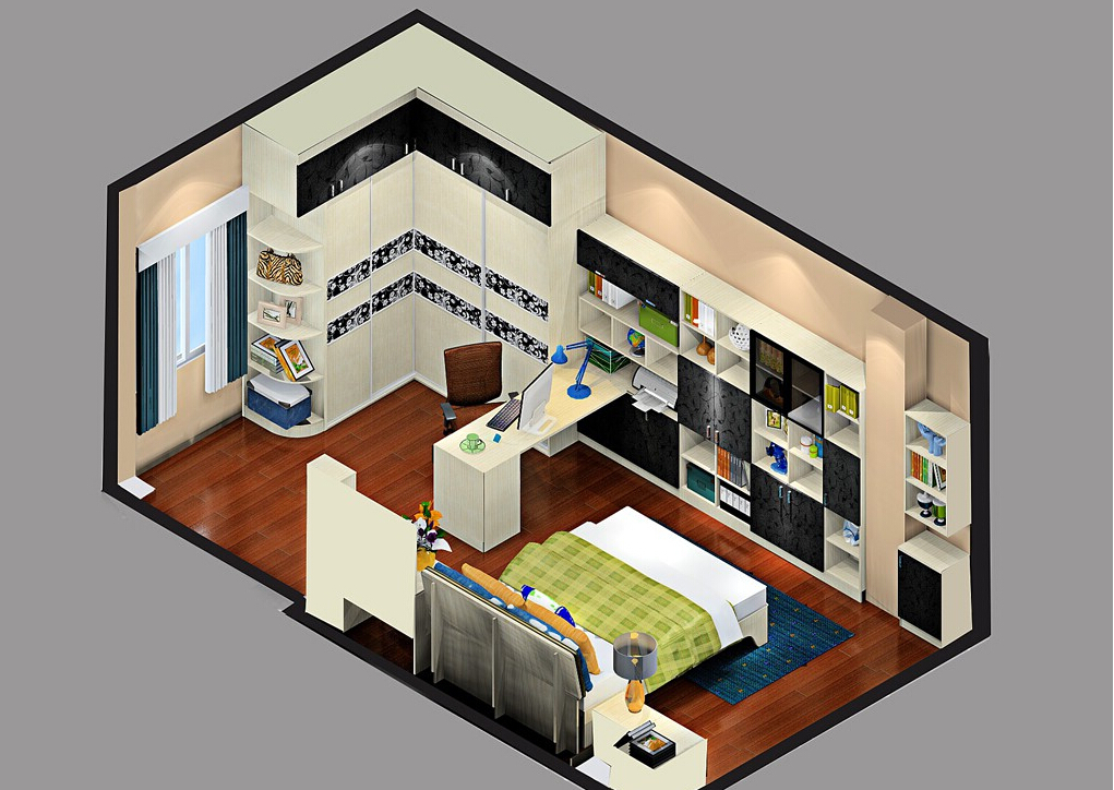 Master-bedroom-overlooking-layout 35 Sky View 4D American House Plan Styles Interior