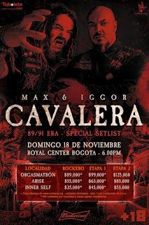 POSTER MAX y IGOR CAVALERA en Bogotá