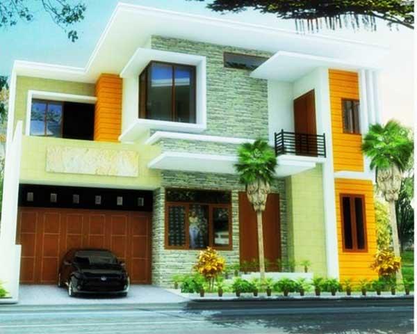 warna cat untuk desain rumah minimalis 2 lantai sederhana