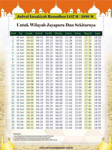 Jadwal Imsakiyah Ramadhan 1437 H / 2016 M Untuk Kota Jayapura