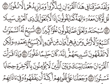 Tafsir Surat Al-Israa Ayat 41, 42, 43, 44, 45
