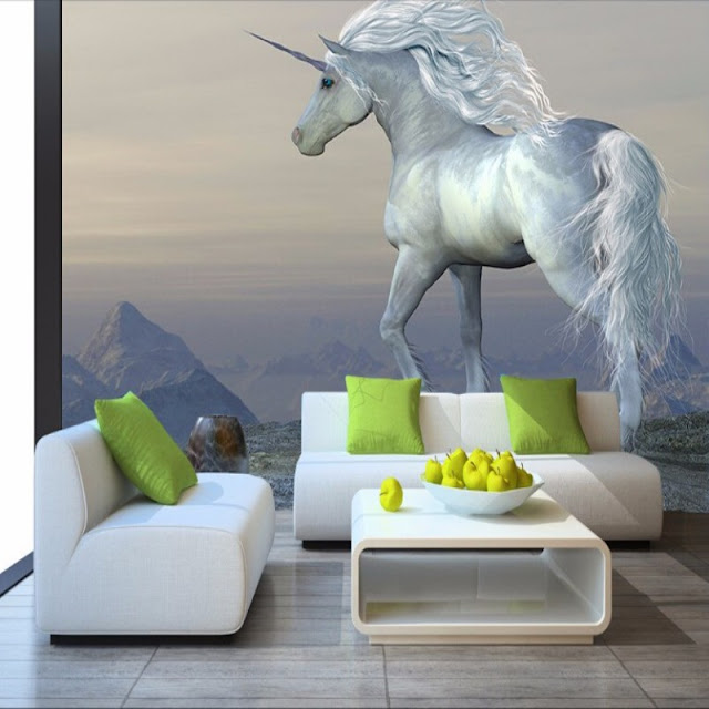 Unicorn wall mural 3D Photo Unicorn Wallpaper for rooms Murals Fantasy Unicorn Wall Mural