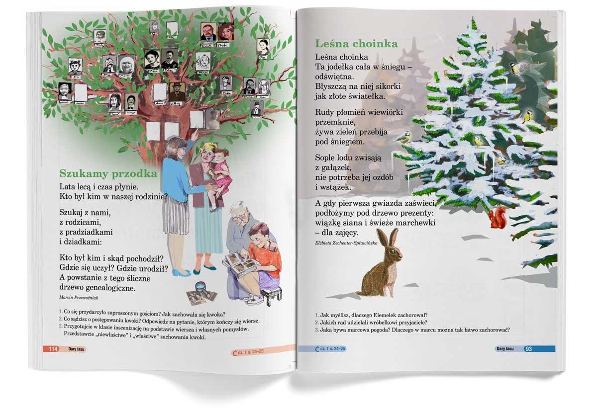ilustracja nowa era Urbaniak ilustratorka drzewo genealogiczne zima choinka
