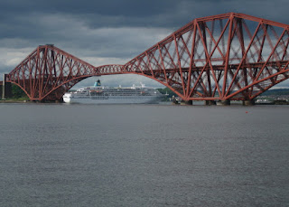 Cruise ship passing under the Forth Bridge, Firth of Forth, South Queensferry, Scotland