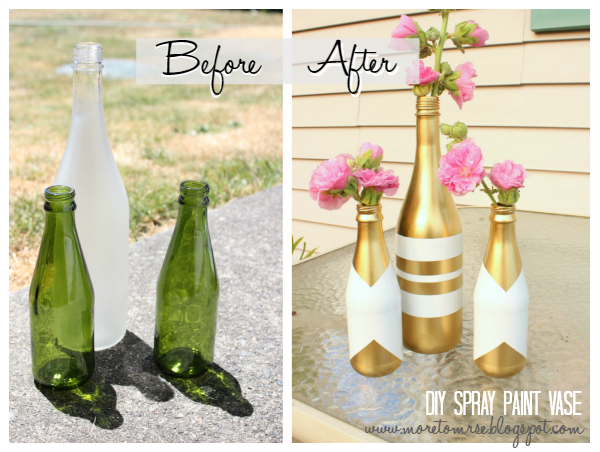 DIY spray paint bottle vase project