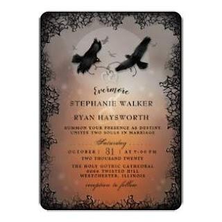 Halloween Ravens Wedding Invitation Gothic Style