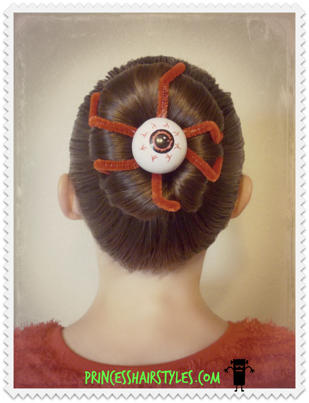 Eyeball Bun Hairstyle For Halloween Or Crazy Hair Day