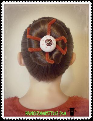 Eyeball bun hairstyle for Halloween or Crazy Hair Day