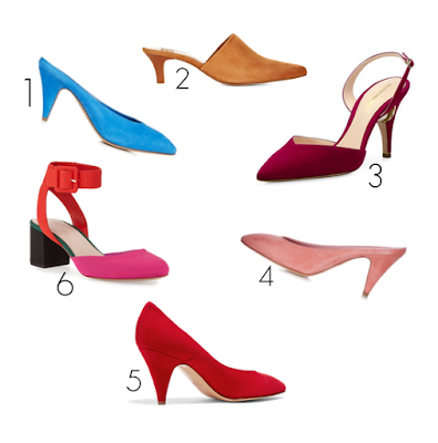 shoes in sued in colorful spring tones