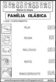 Famílias silábicas alfabetização letra R
