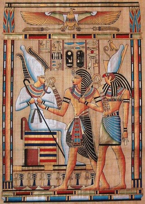 Egyptian Gods Osiris and Horus with Pharaoh Seti I