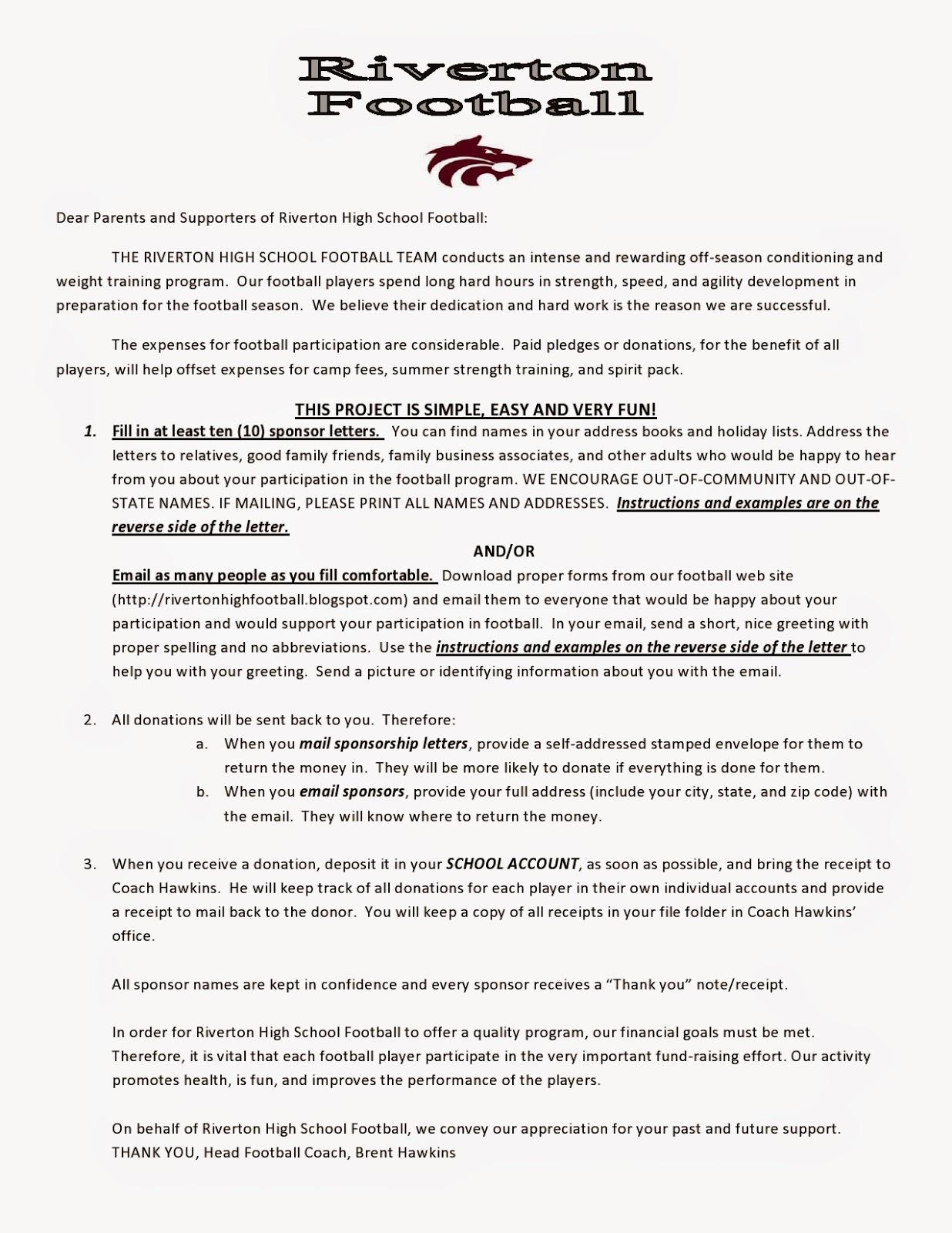 high school football program template - fundraising letter for high school sports