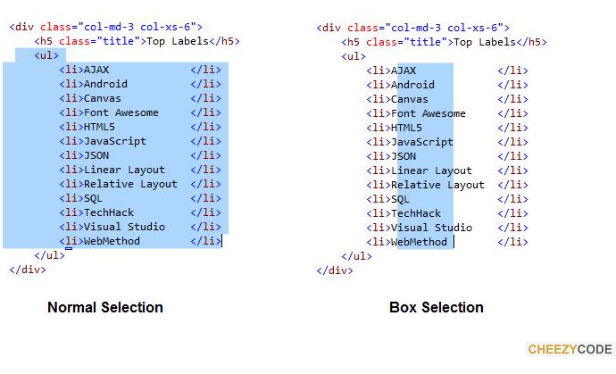 Box Selection In Visual Studio