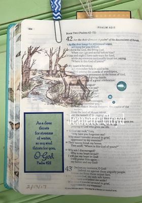 ODBD Quiet Waters, Bible Page stamped by Jeanette Cloyd aka Forest Ranger