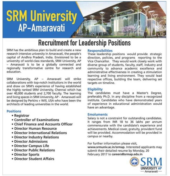 srm amaravati recruitment of leadership