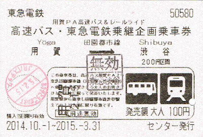 東急電鉄 用賀PA高速バス&レールライド 高速バス・東急電鉄乗継企画乗車券