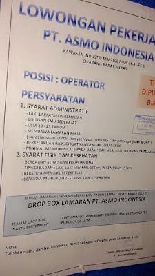 Lowongan Kerja PT ASMO INDONESIA