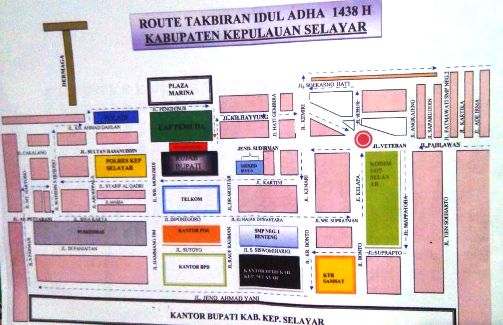 Ini Jalur Yang Akan Dilalui, Takbiran Keliling Idul Adha 1438 H, Di Benteng