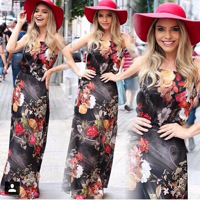 Resultado de imagem para vestidos preto floridos