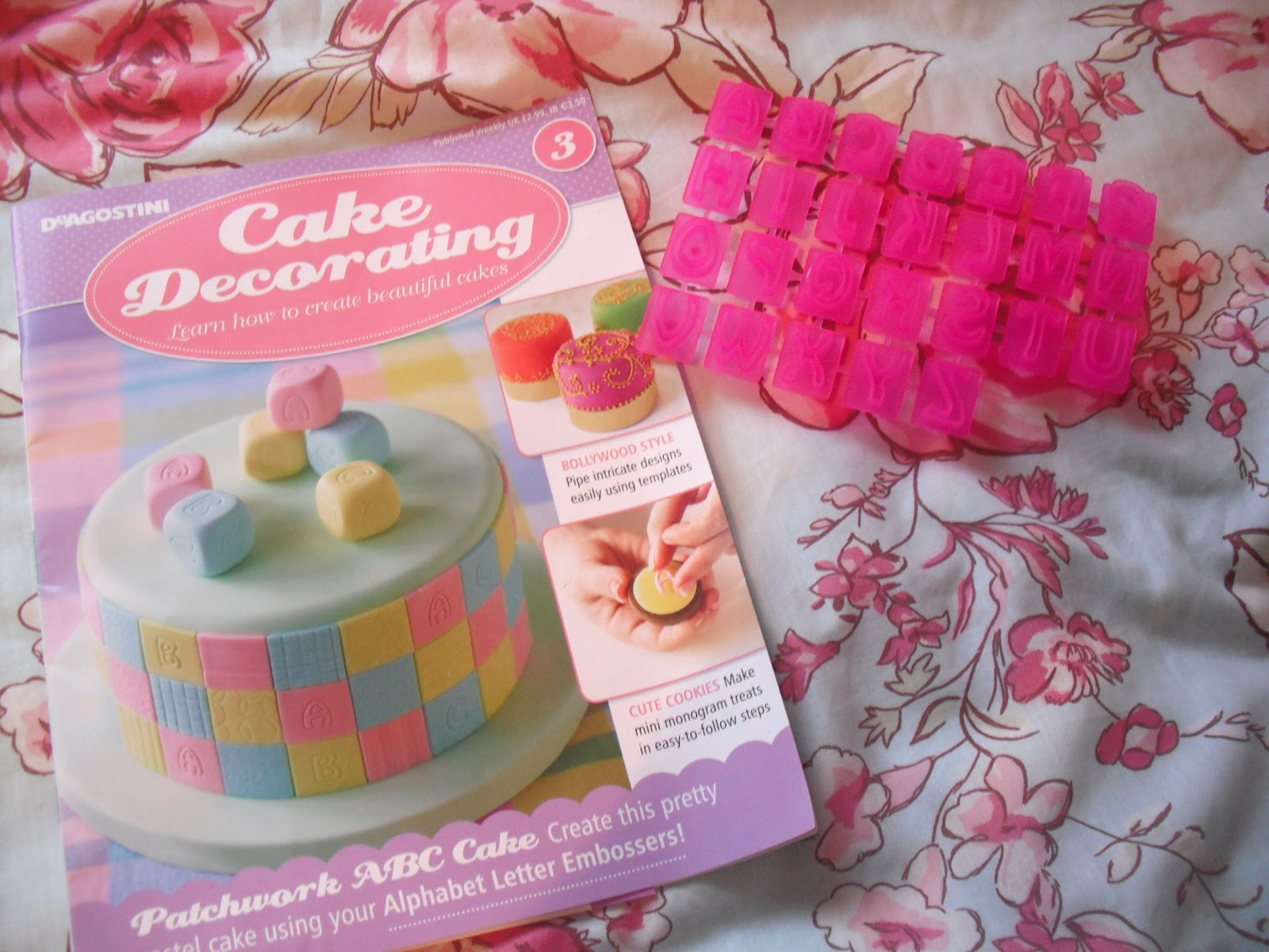 Cake Decorating Magazine Issue 3   Baking Bits            Victoria s     Issue 3 came with some bright pink alphabet embossers  They also suggest  that you can use them as cutters to cut out tiny letter  but although I  haven t